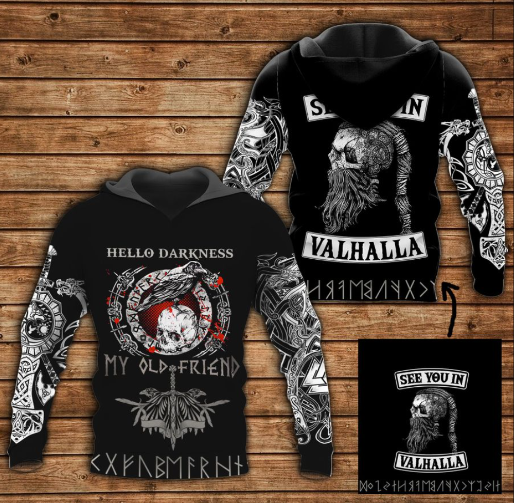 Viking hello darkness my old friend all over printed 3D hoodie