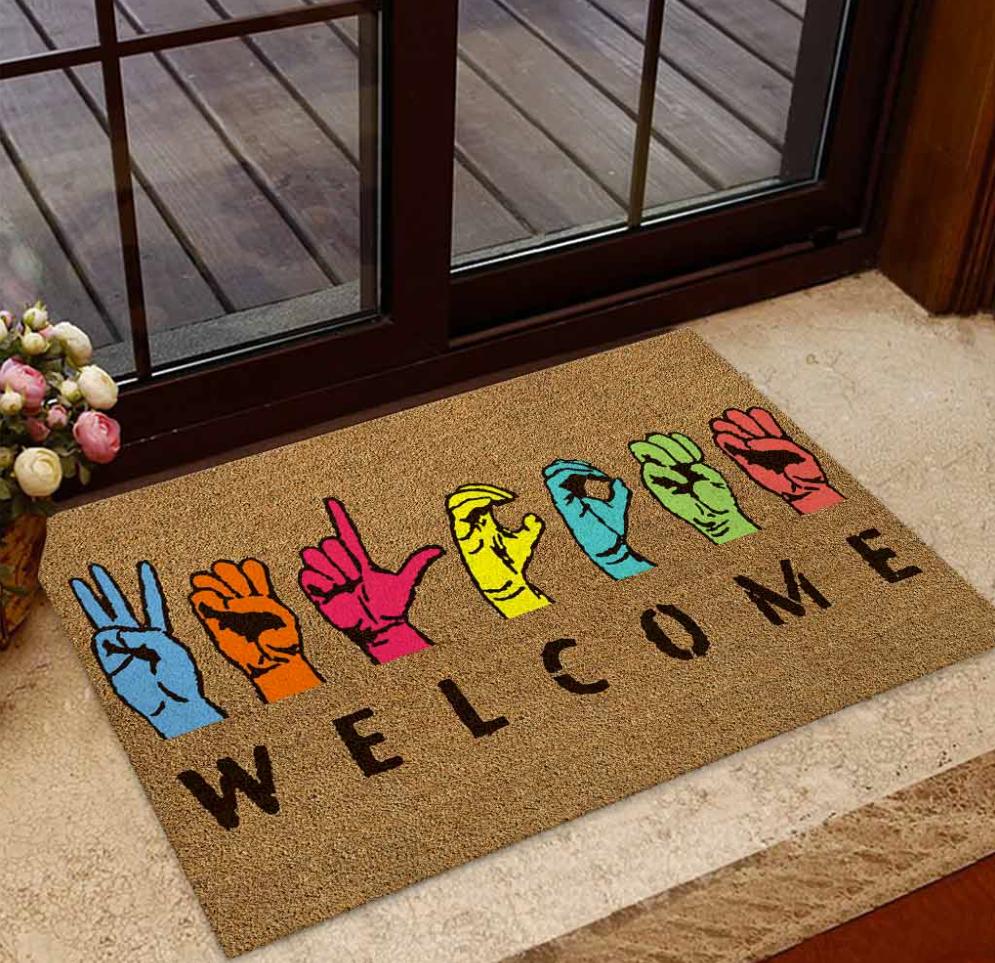 Welcome American Sign Language doormat 1