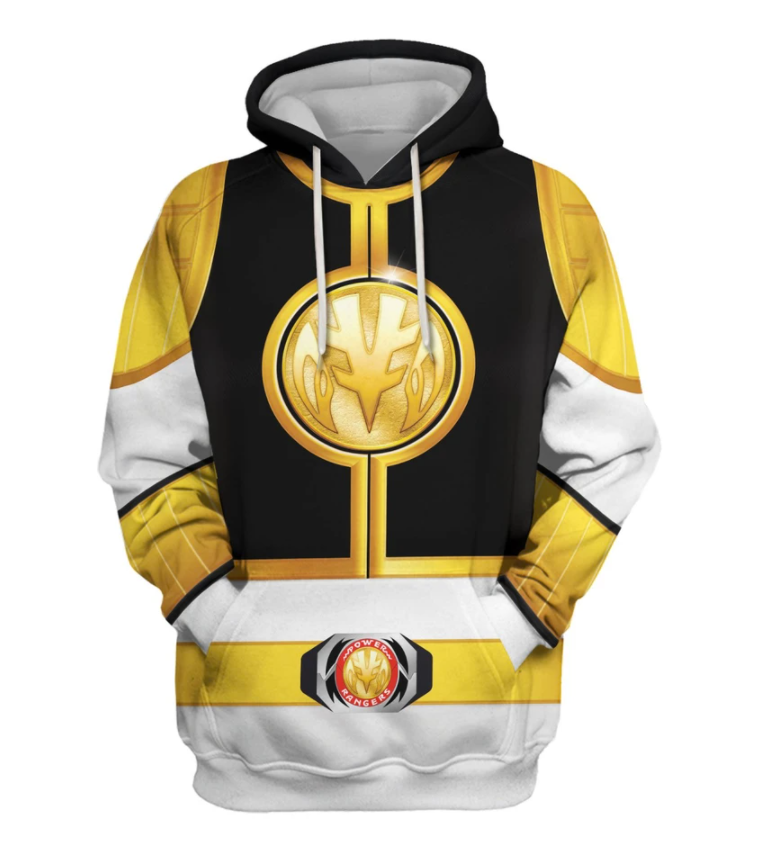 White Ranger all over printed 3d hoodie