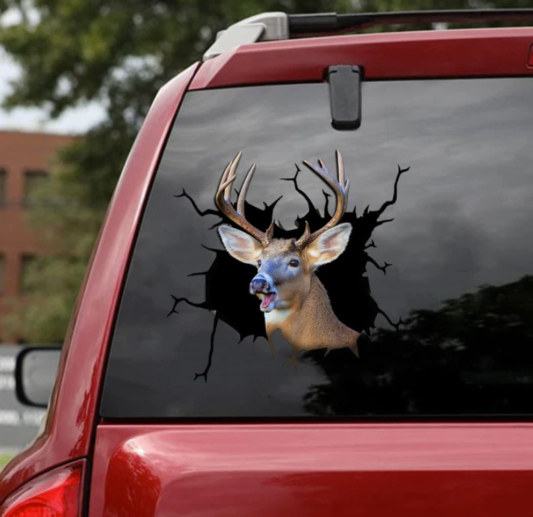 White tailed deer crack decal