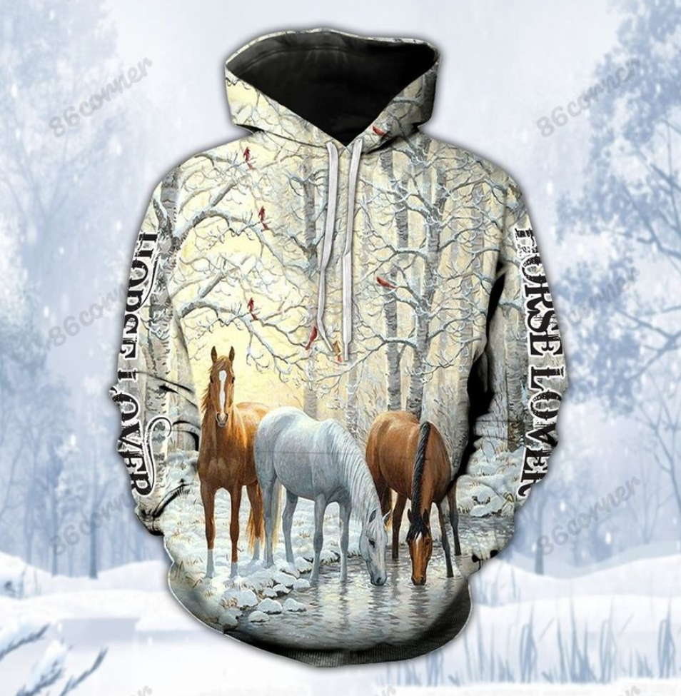 Winter horse lover all over printed 3D hoodie