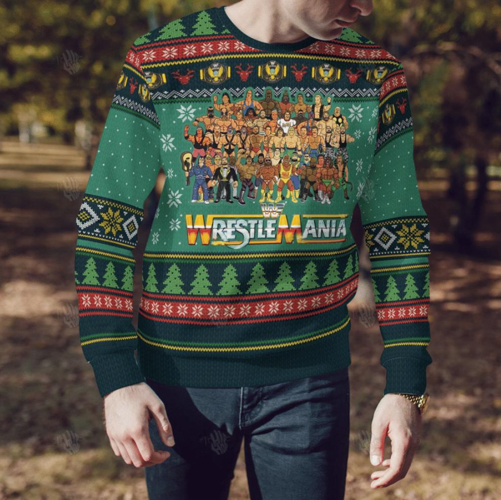 Wrestlemania ugly sweater 1