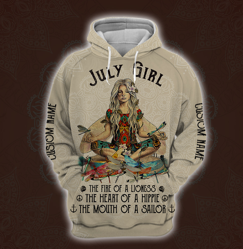 Yoga July Girl he fire of a lioness the heart of a hippie the mouth of a sailor all over printed 3D hoodie