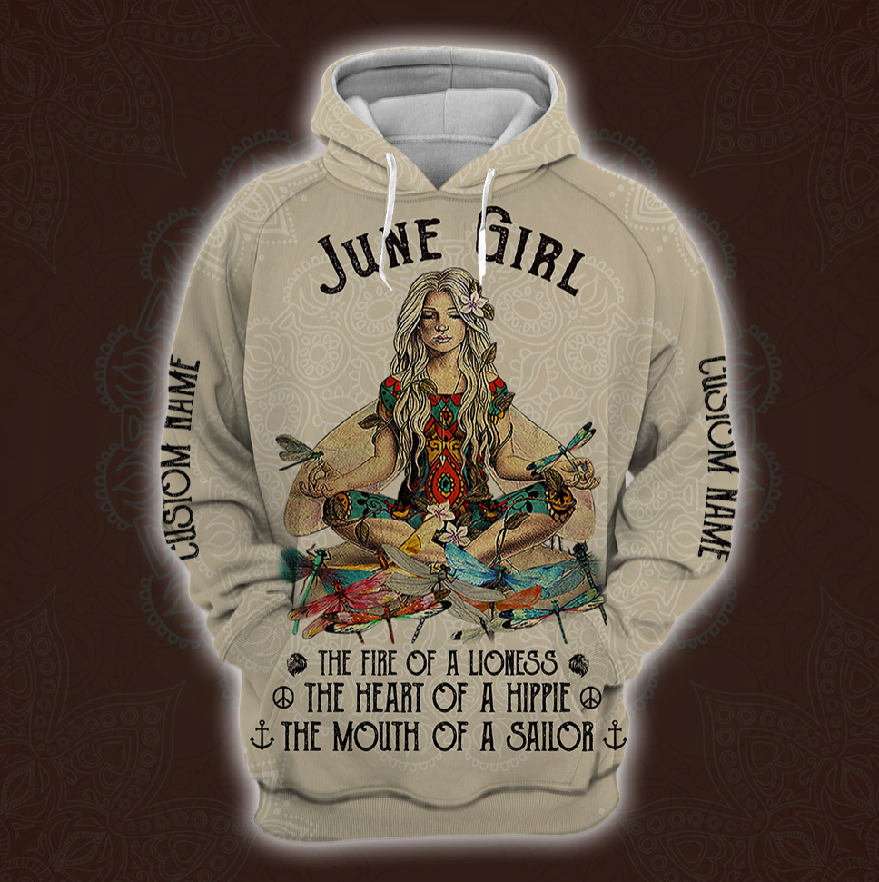 Yoga June Girl he fire of a lioness the heart of a hippie the mouth of a sailor all over printed 3D hoodie