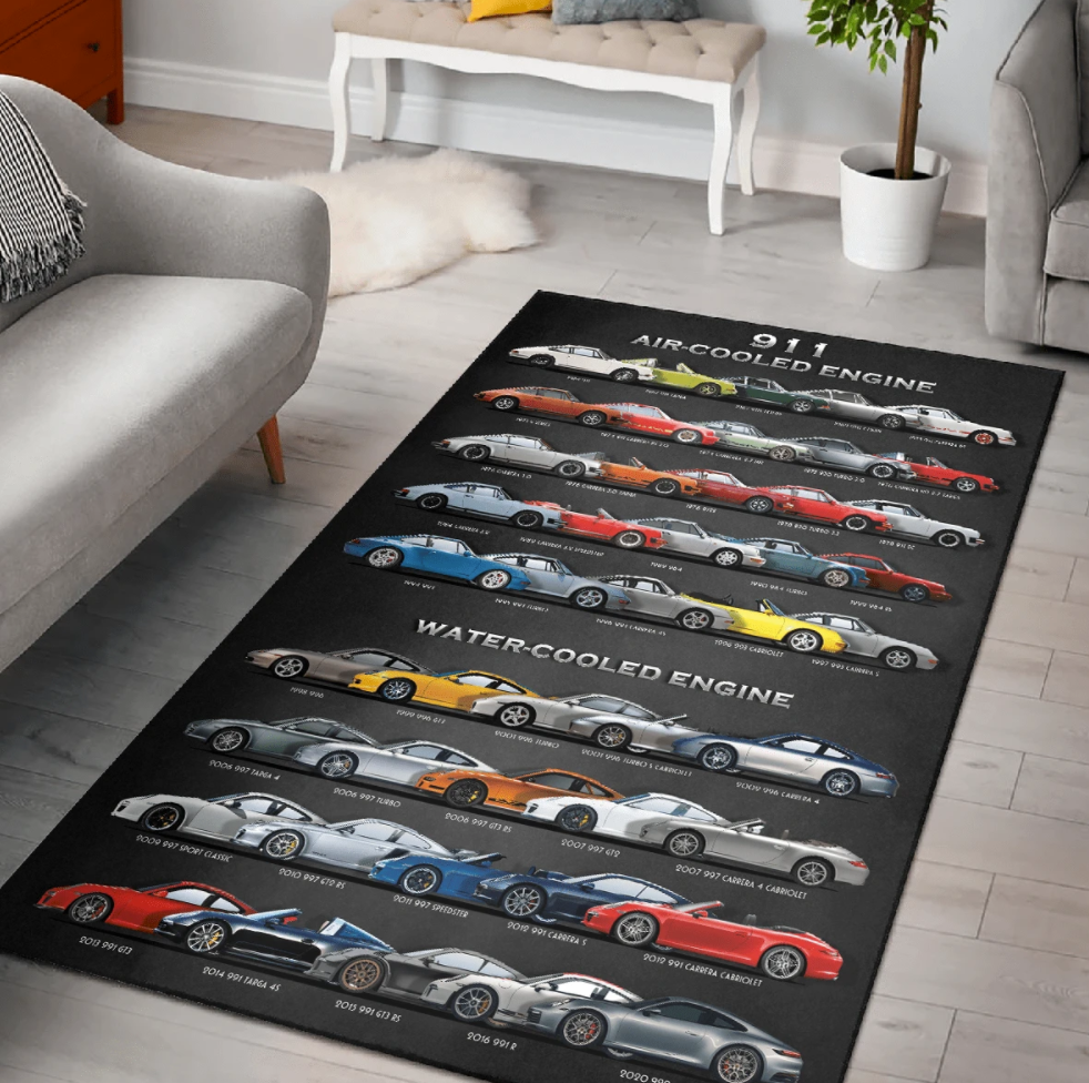 911 air cooled engine rug