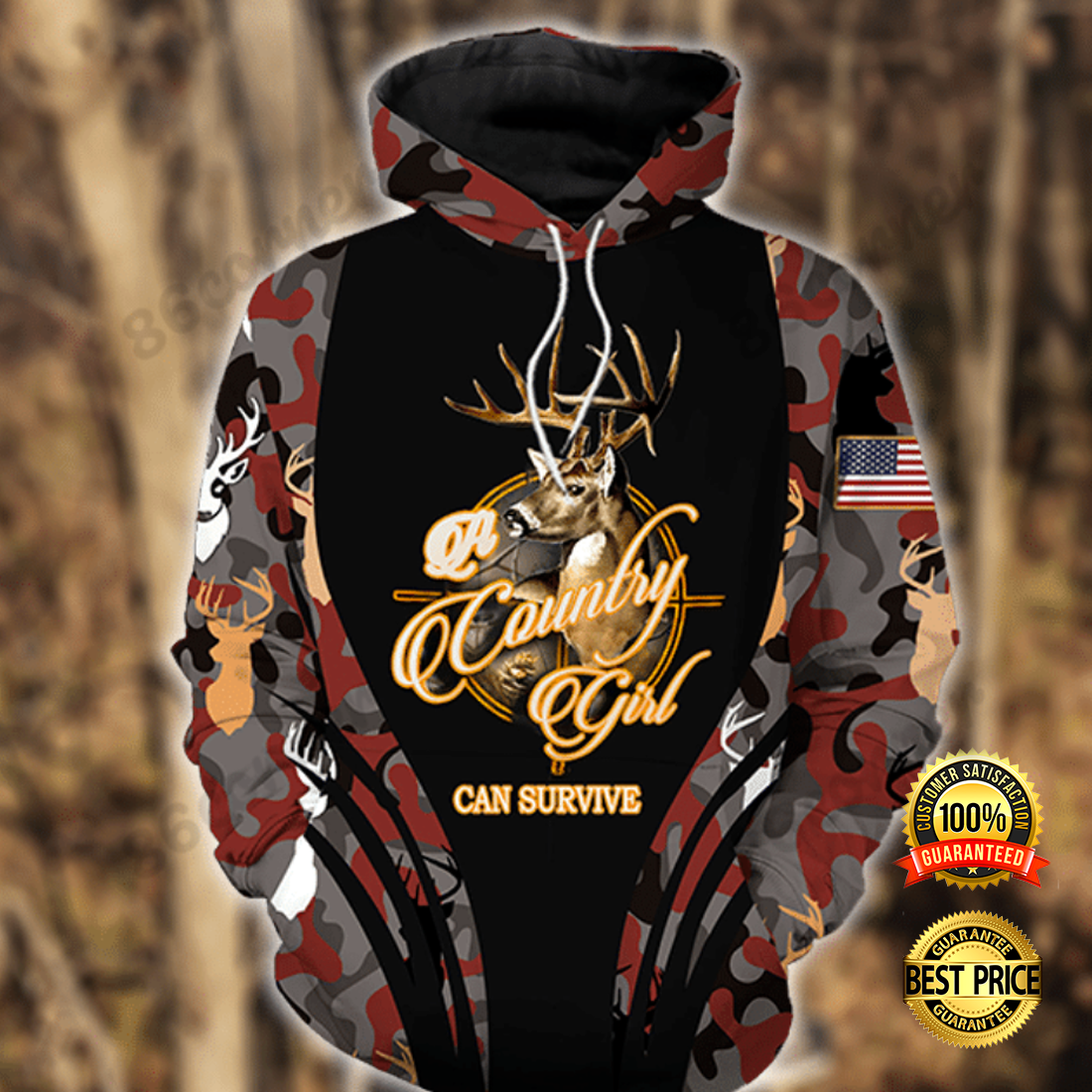 A country girl can survive all over printed 3D hoodie 3