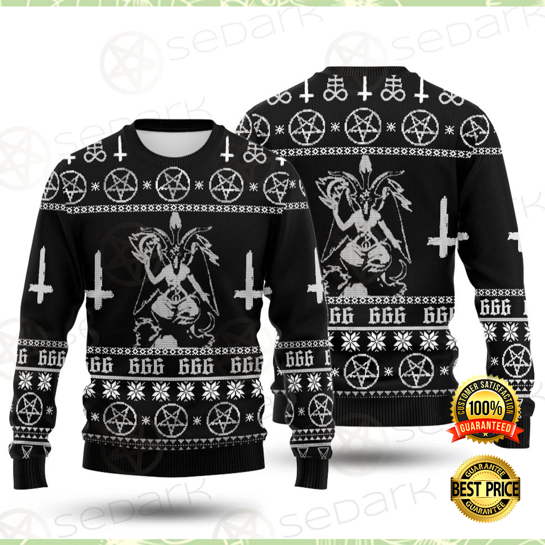 Baphomet cross inverted ugly sweater 3