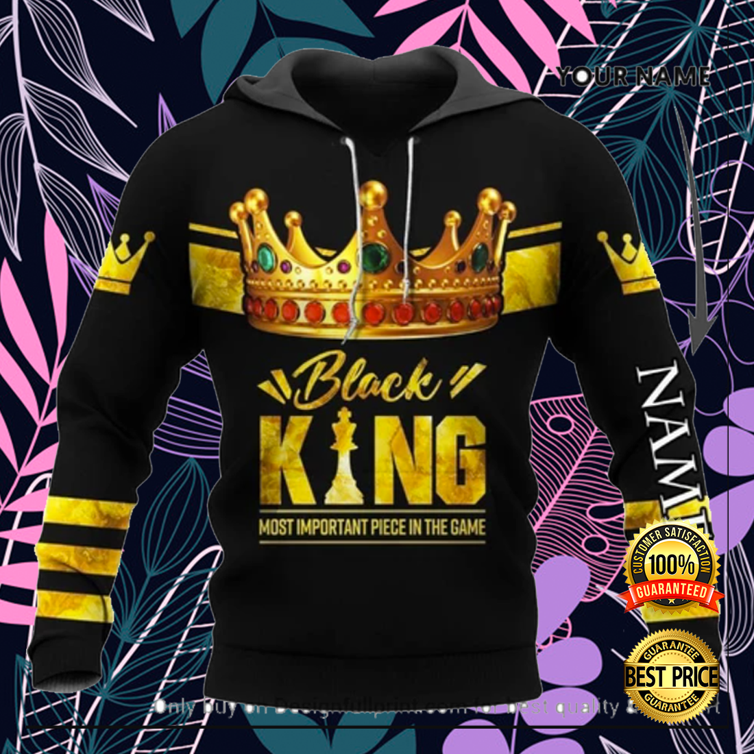 Black king most important piece in the game all over printed 3D hoodie 1