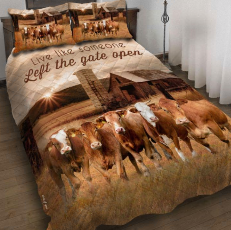 Cattle live like someone left the gate open bedding set