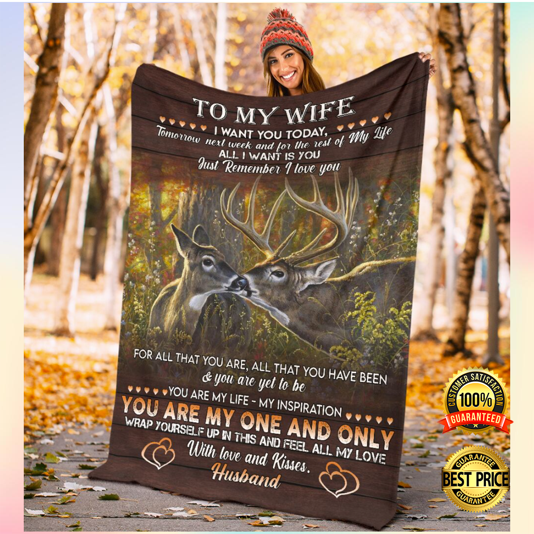 Deer couple i want you today tomorrow next week and for the rest of my life blanket