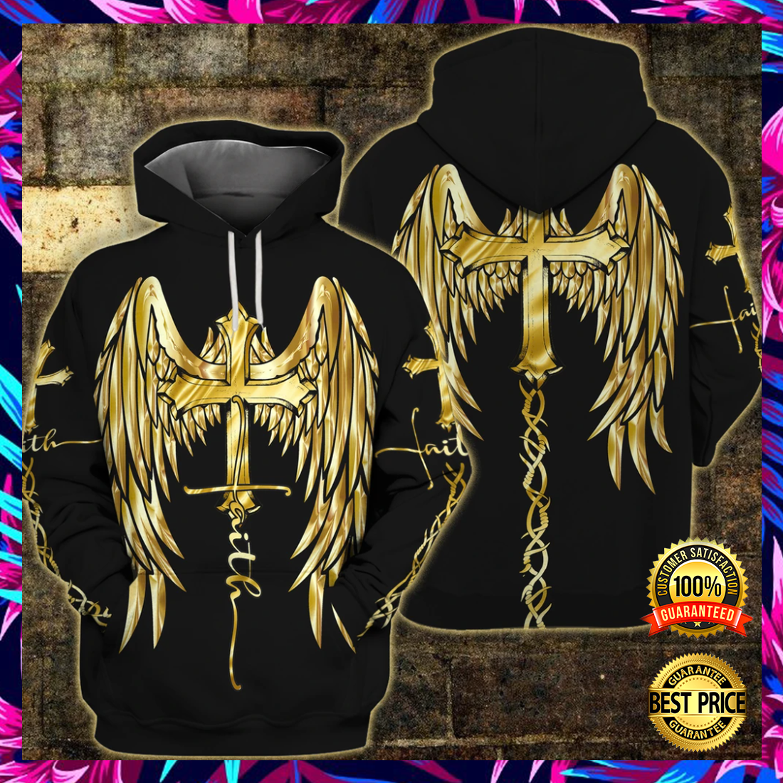 Faith wings cross all over printed 3D hoodie 2
