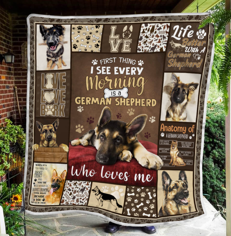 First thing i see every morning is a German Shepherd who loves me blanket 1