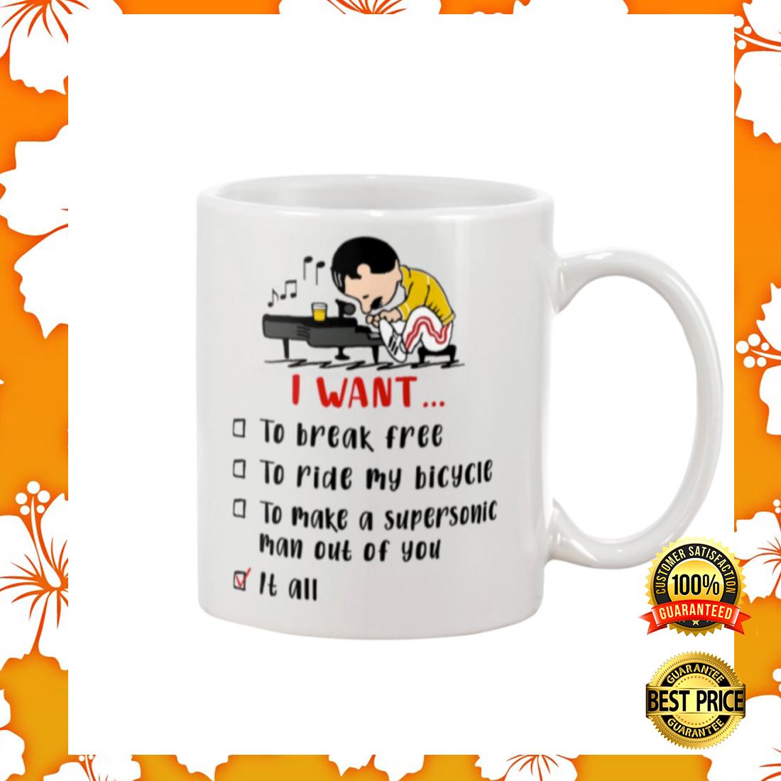 Freddie Mercury I want to break free to ride my bicycle mug 2