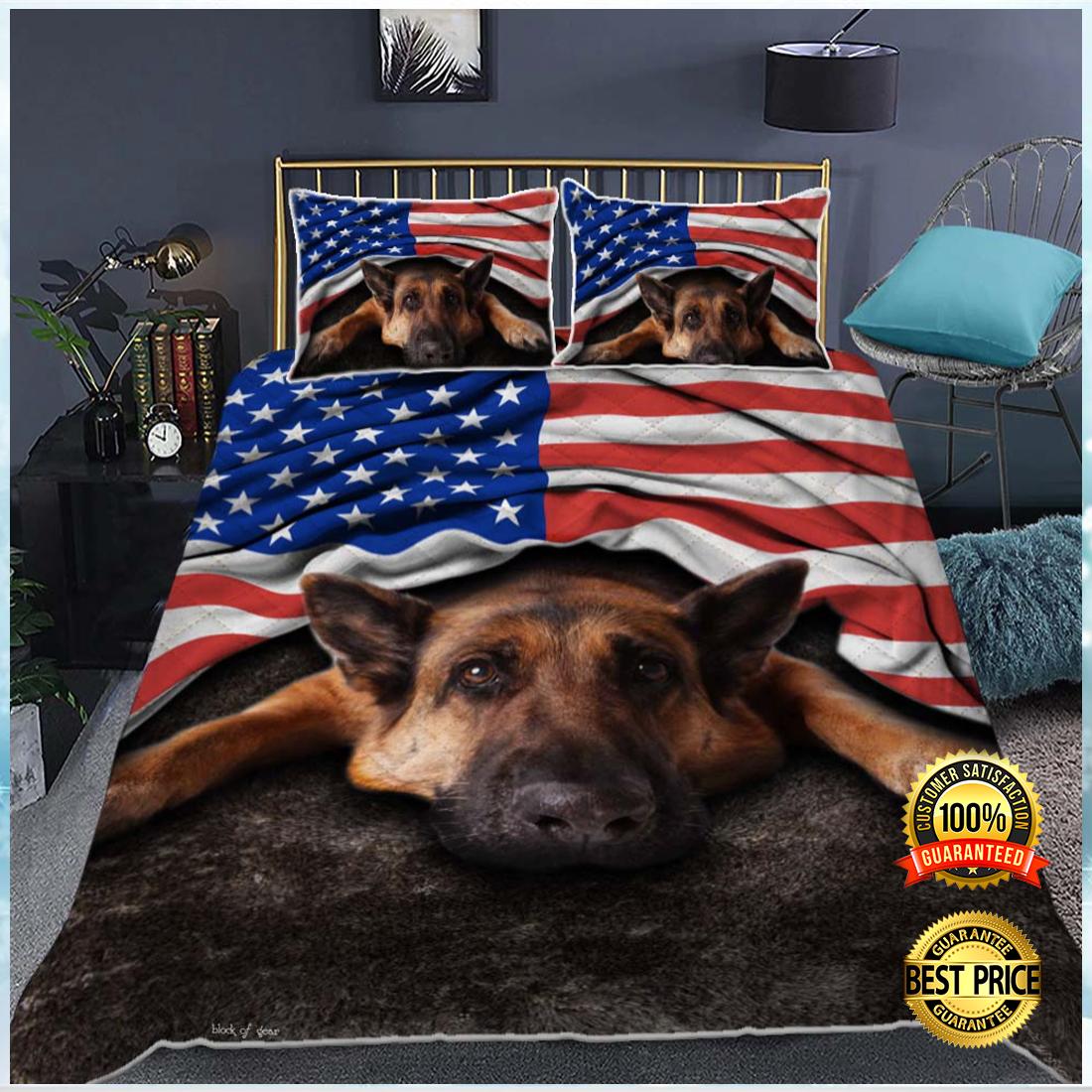 German Shepherd American flag bedding set 4