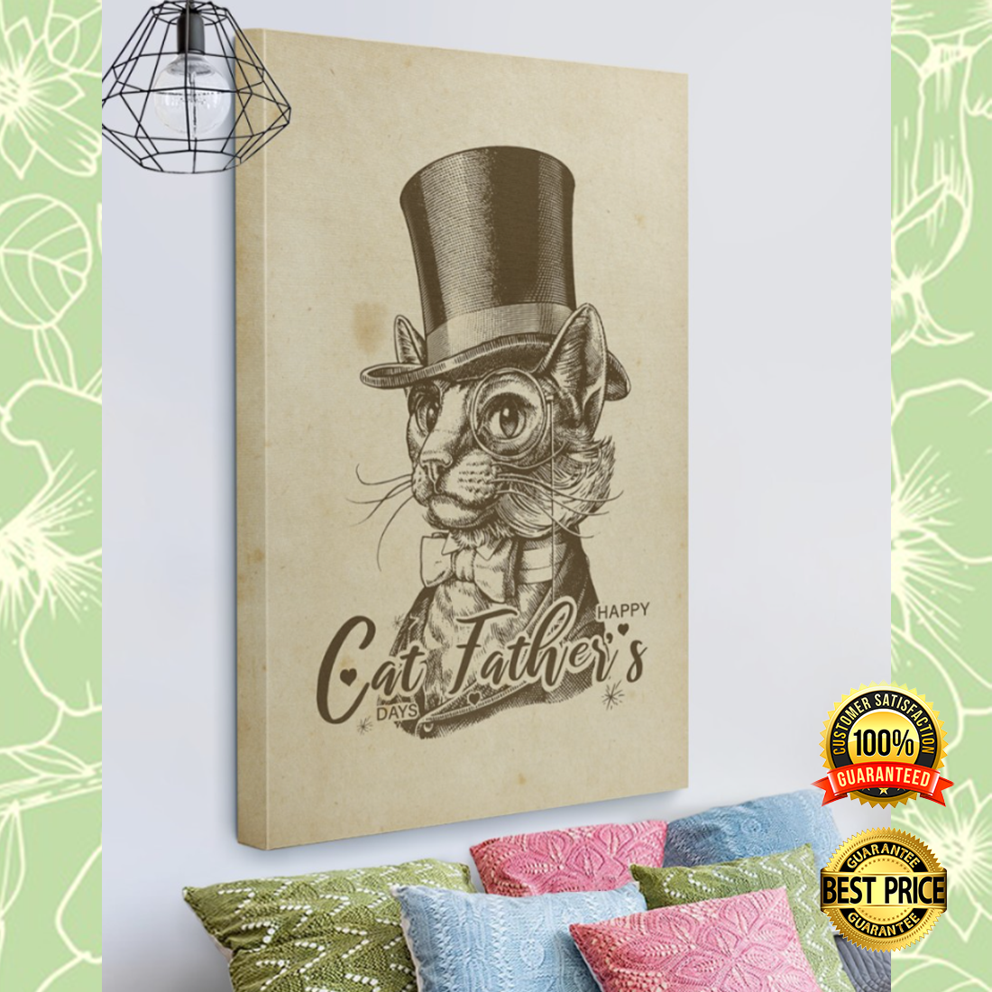 Happy cat father's days canvas 4