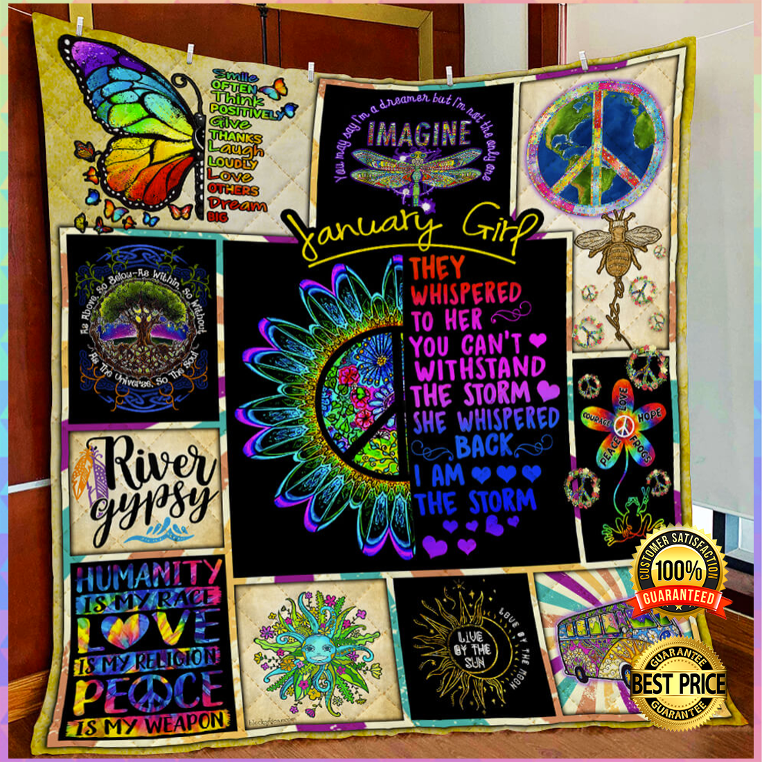 Hippie january girl they whispered to her you cannot withstand the storm quilt 3