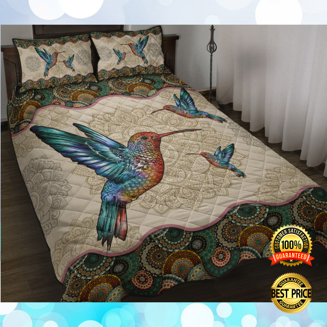 Hummingbird mandala bedding set 4