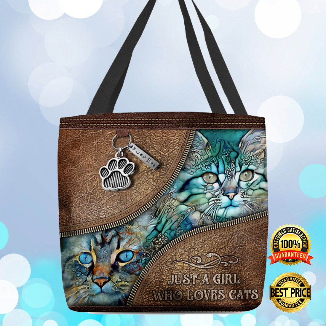 Just a girl who loves cats tote bag 4