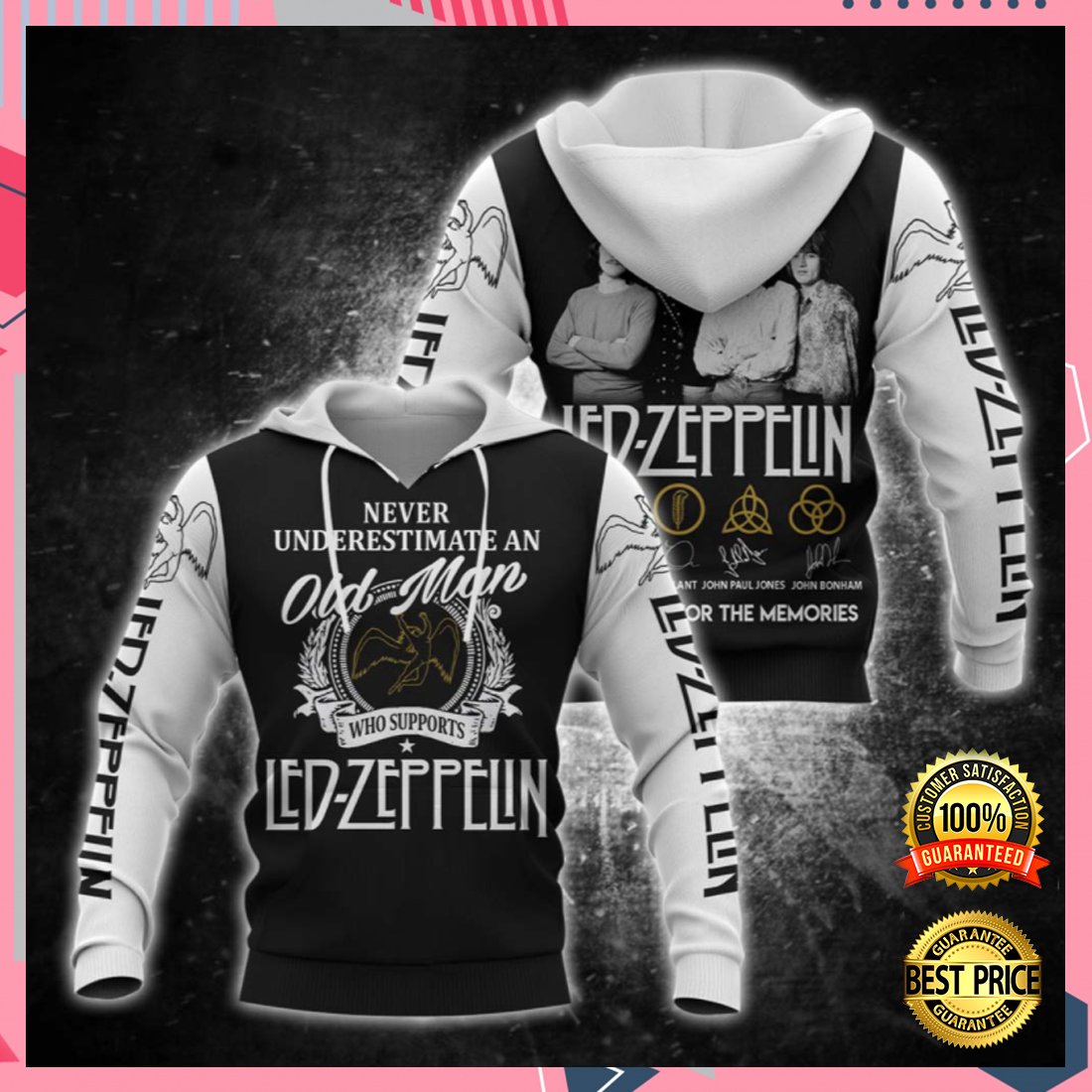Never underestimate an old man who supports Led Zeppelin all over printed 3D hoodie 5