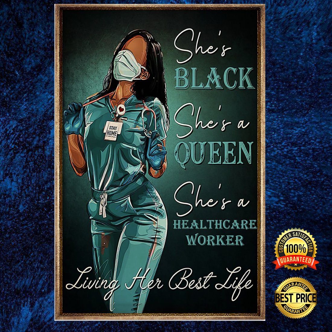 Nurse she's black she's a queen she's a healthcare worker poster 5
