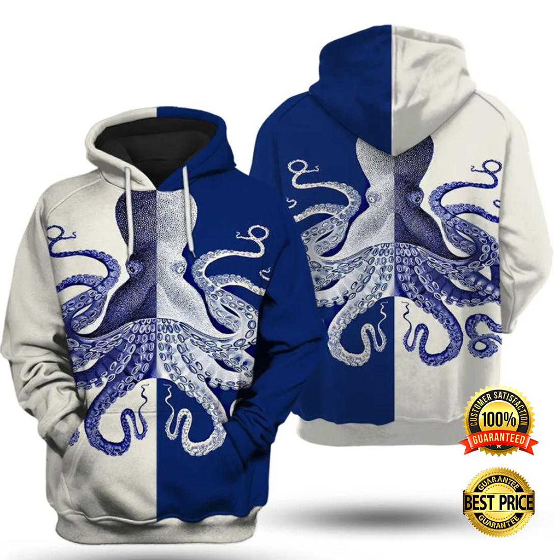 Octopus white and blue all over printed 3D hoodie 4