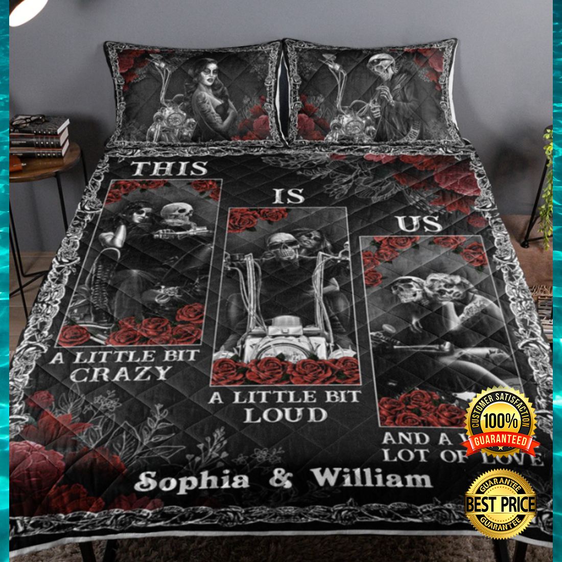 Personalized Motorcycle Skeleton this is us bedding set 4