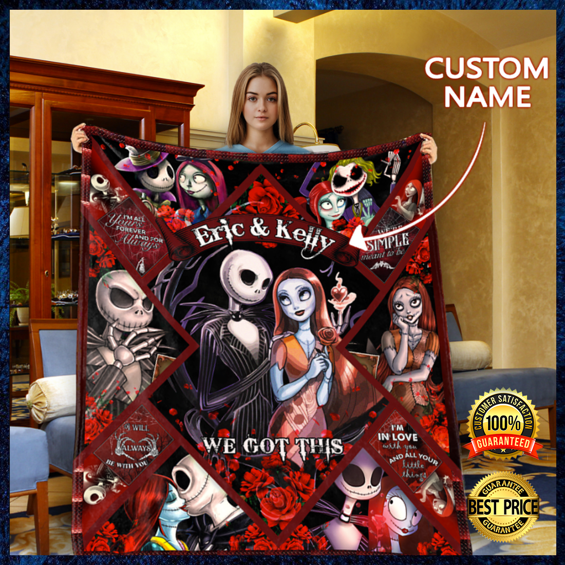 Personalized Sally and Jack we got this blanket 4