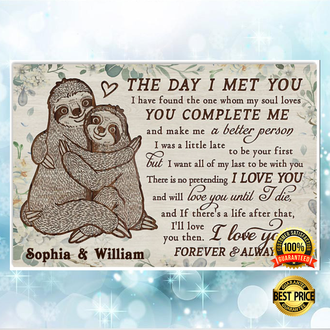 Personalized Sloth the day i met you poster 5