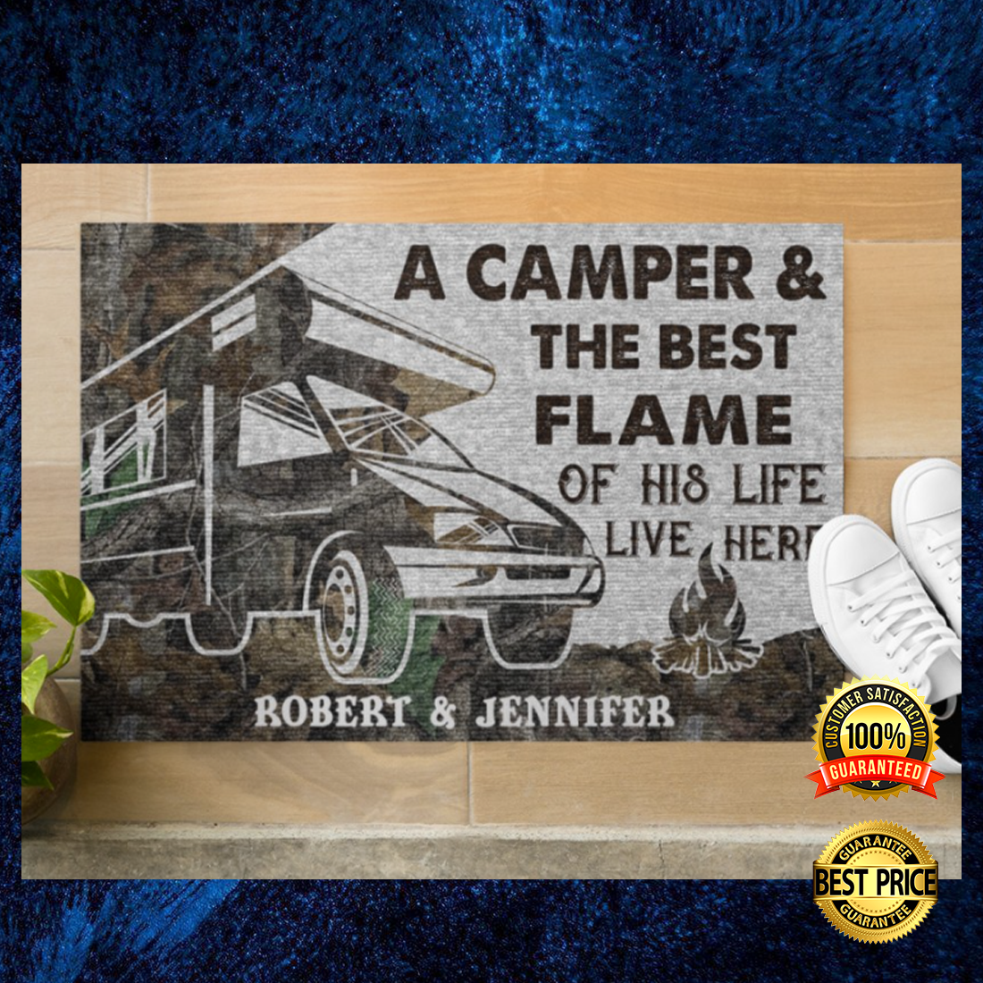 Personalized a camper and the best flame of his life live here doormat 4