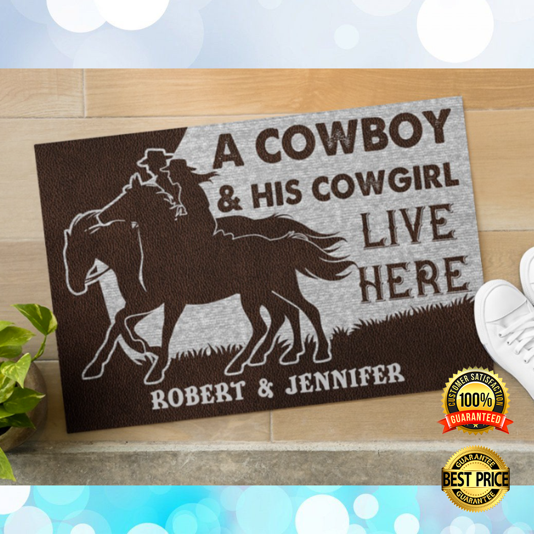 Personalized a cowboy and his cowgirl live here doormat 4