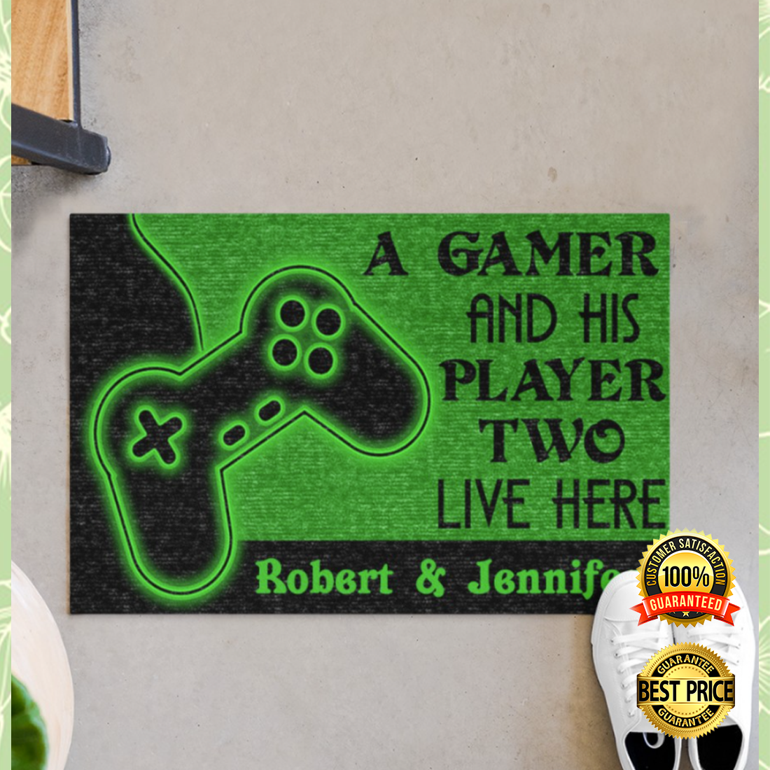 Personalized a gamer and his player two live here doormat 4