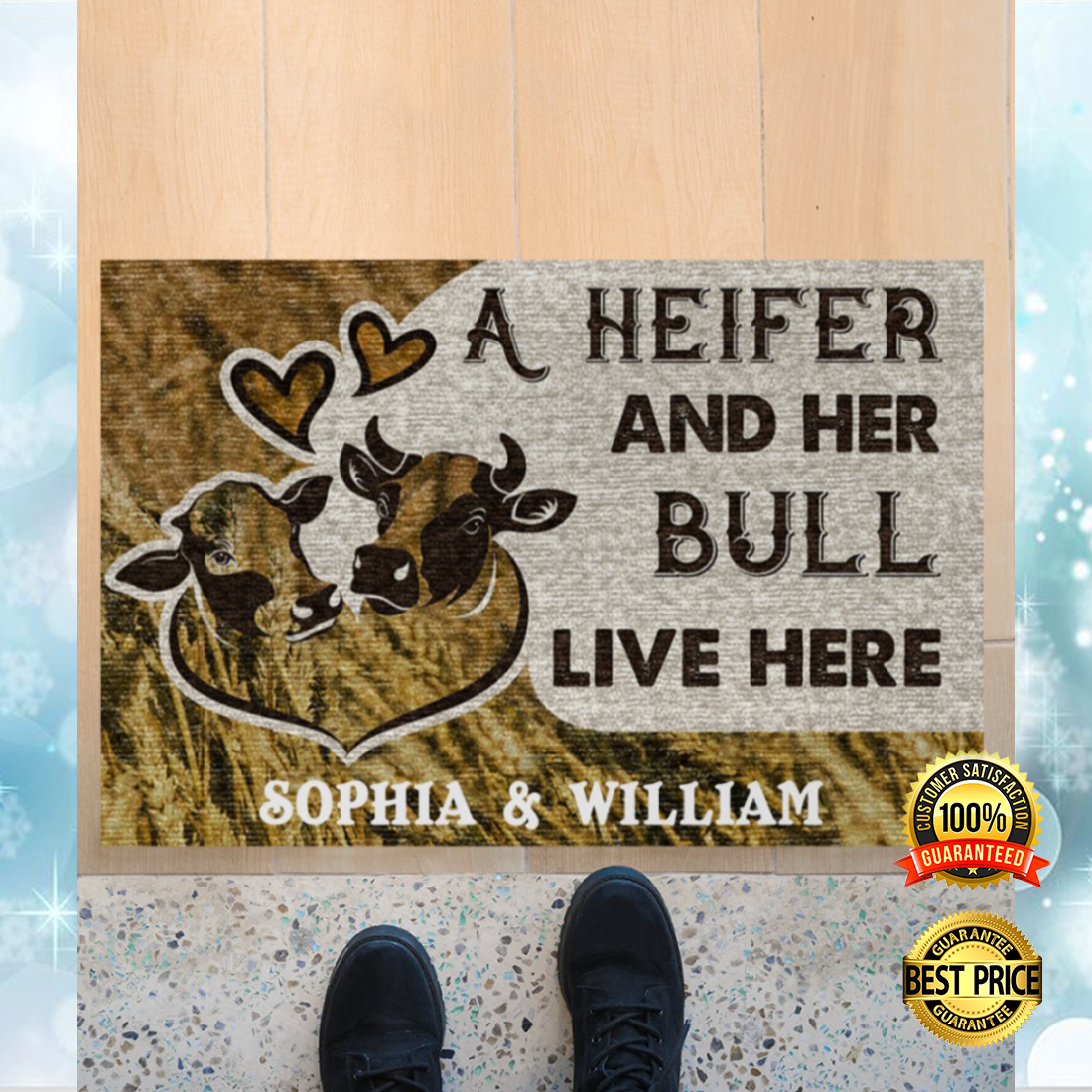Personalized a heifer and her bull live here doormat 4