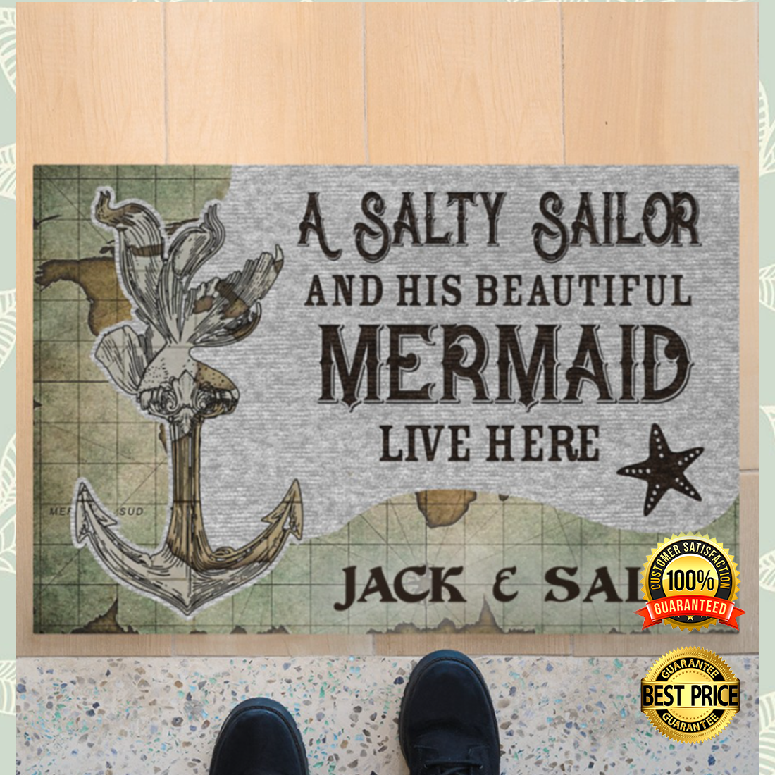 Personalized a salty sailor and his beautiful mermaid live here doormat 4