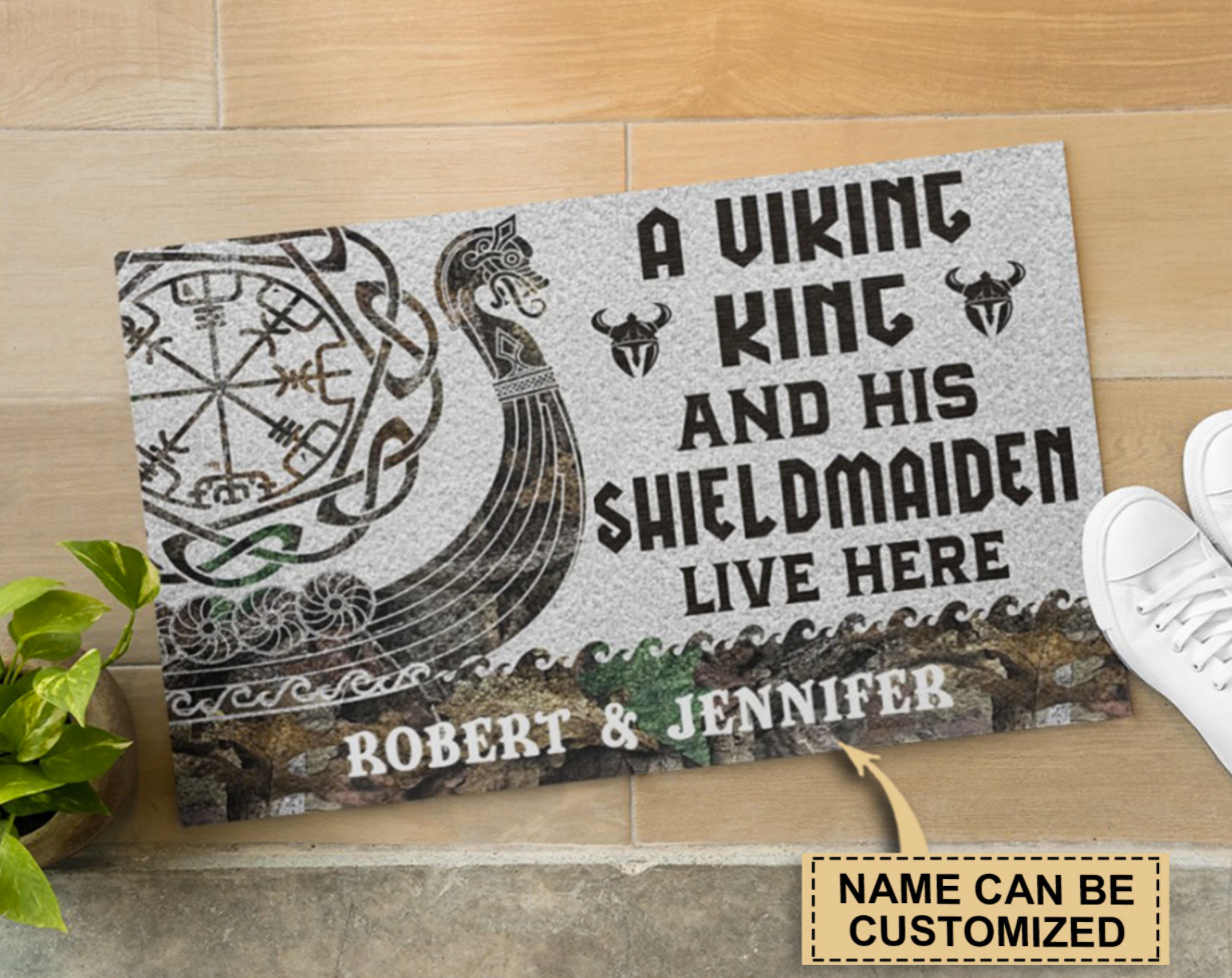 Personalized a viking and his shieldmaiden live here doormat