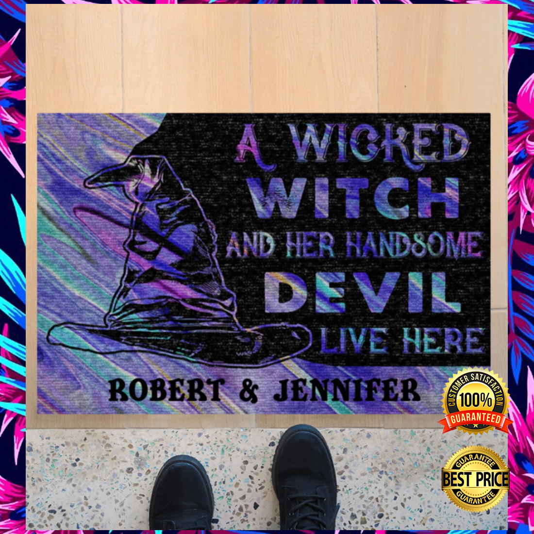 Personalized a wicked witch and her handsome devil live here doormat 4