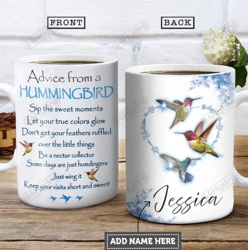 Personalized advice from a hummingbird mug