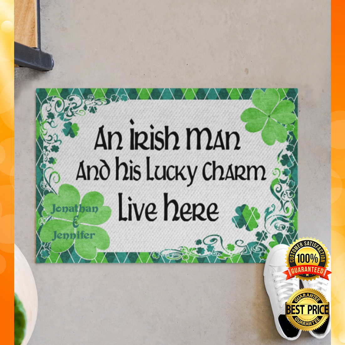 Personalized an Irish man and his lucky charm live here doormat 4