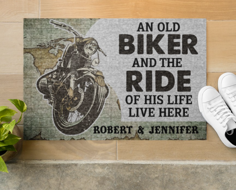 Personalized an old biker and the ride of his life live here doormat 1