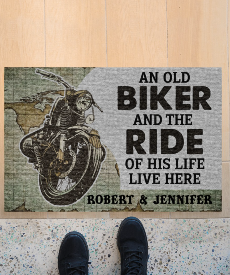 Personalized an old biker and the ride of his life live here doormat
