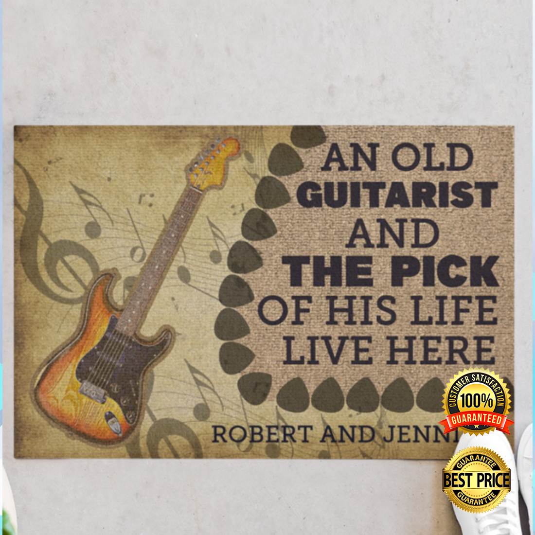 Personalized an old guitarist and the pick of his life live here doormat 4