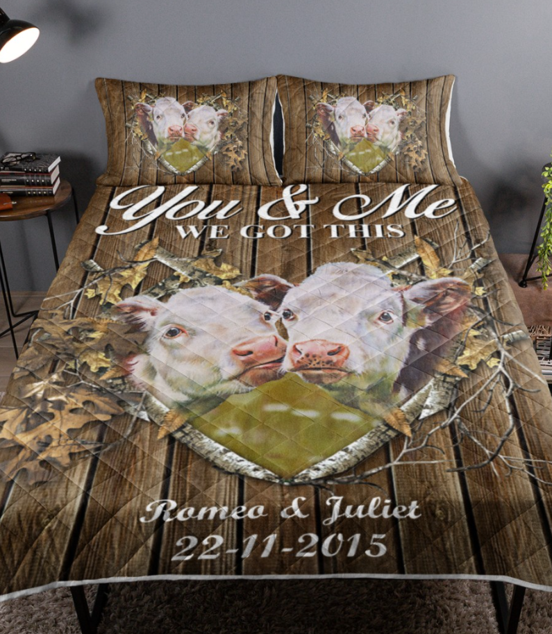 Personalized cow couple you and me we got this bedding set