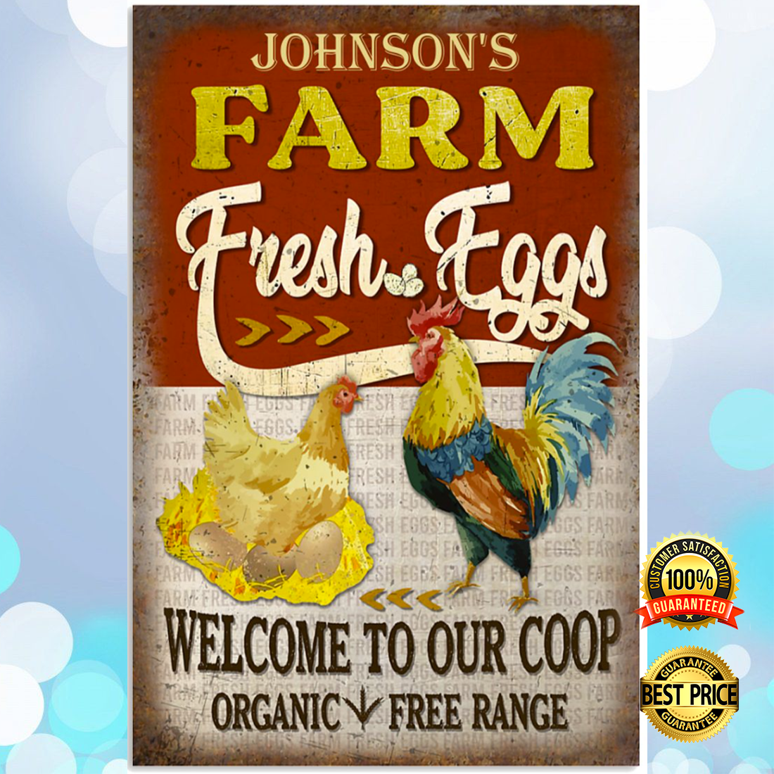 Personalized farm fresh eggs welcome to our coop organic free range poster 5