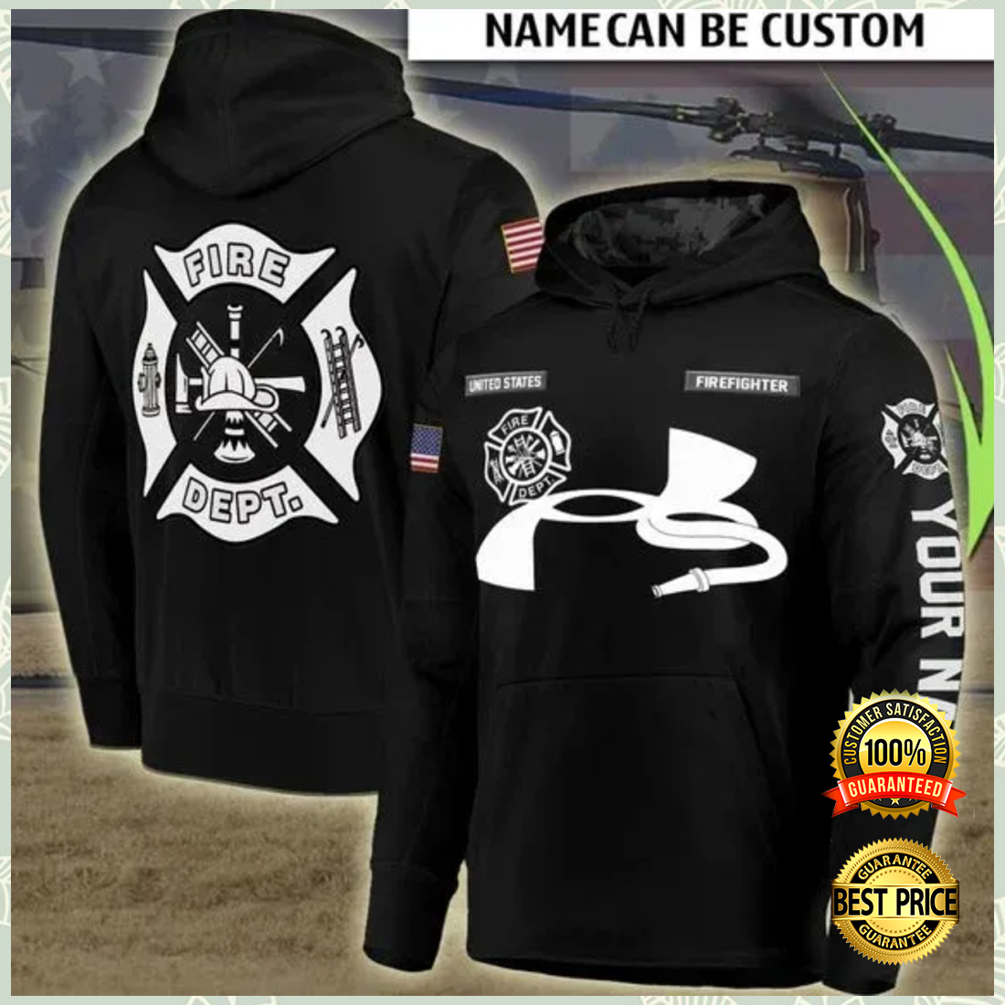 Personalized fire dept all over printed 3D hoodie 4
