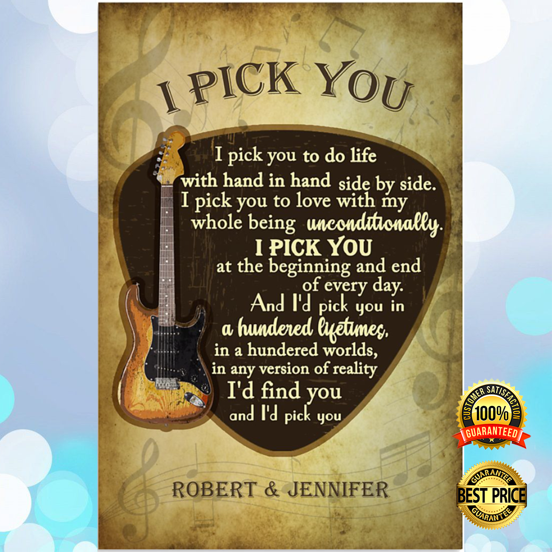 Personalized guitar i pick you poster 5