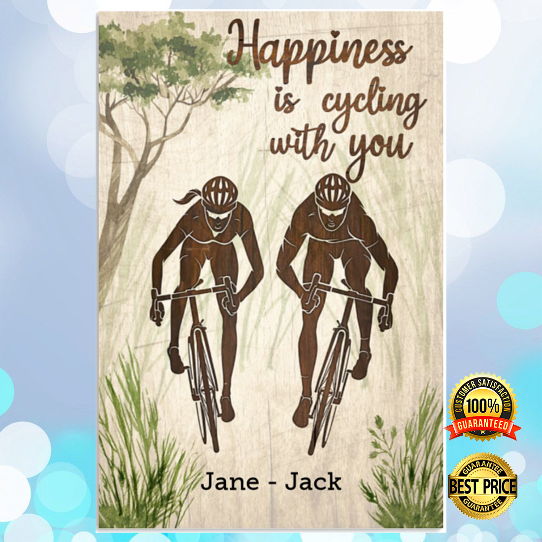 Personalized happiness is cycling with you poster 5