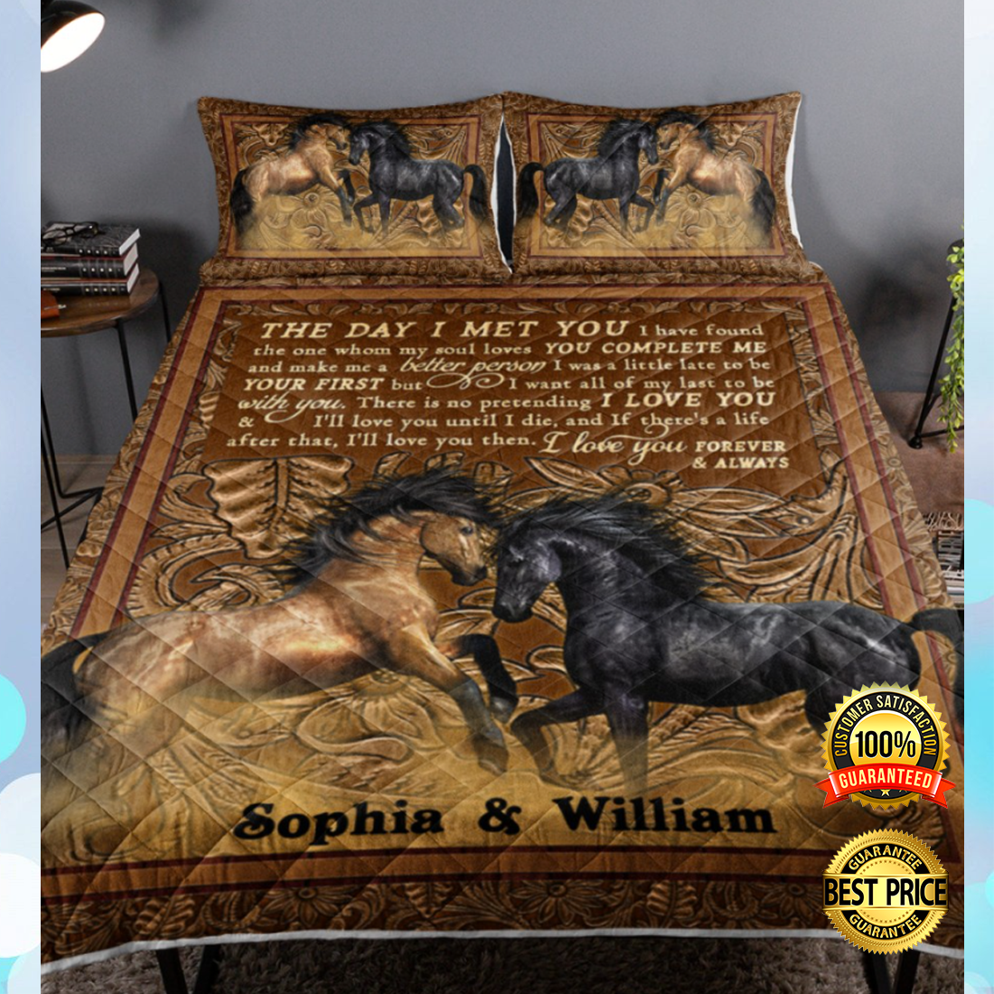 Personalized horse the day i met you bedding set 4