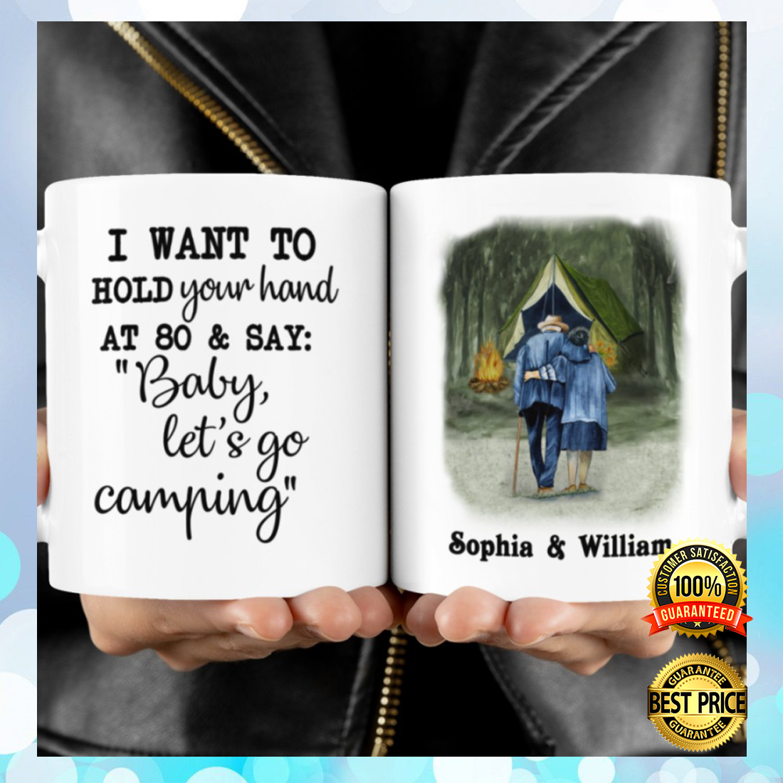Personalized i want to hold your hand at 80 and say baby let's go camping mug 3