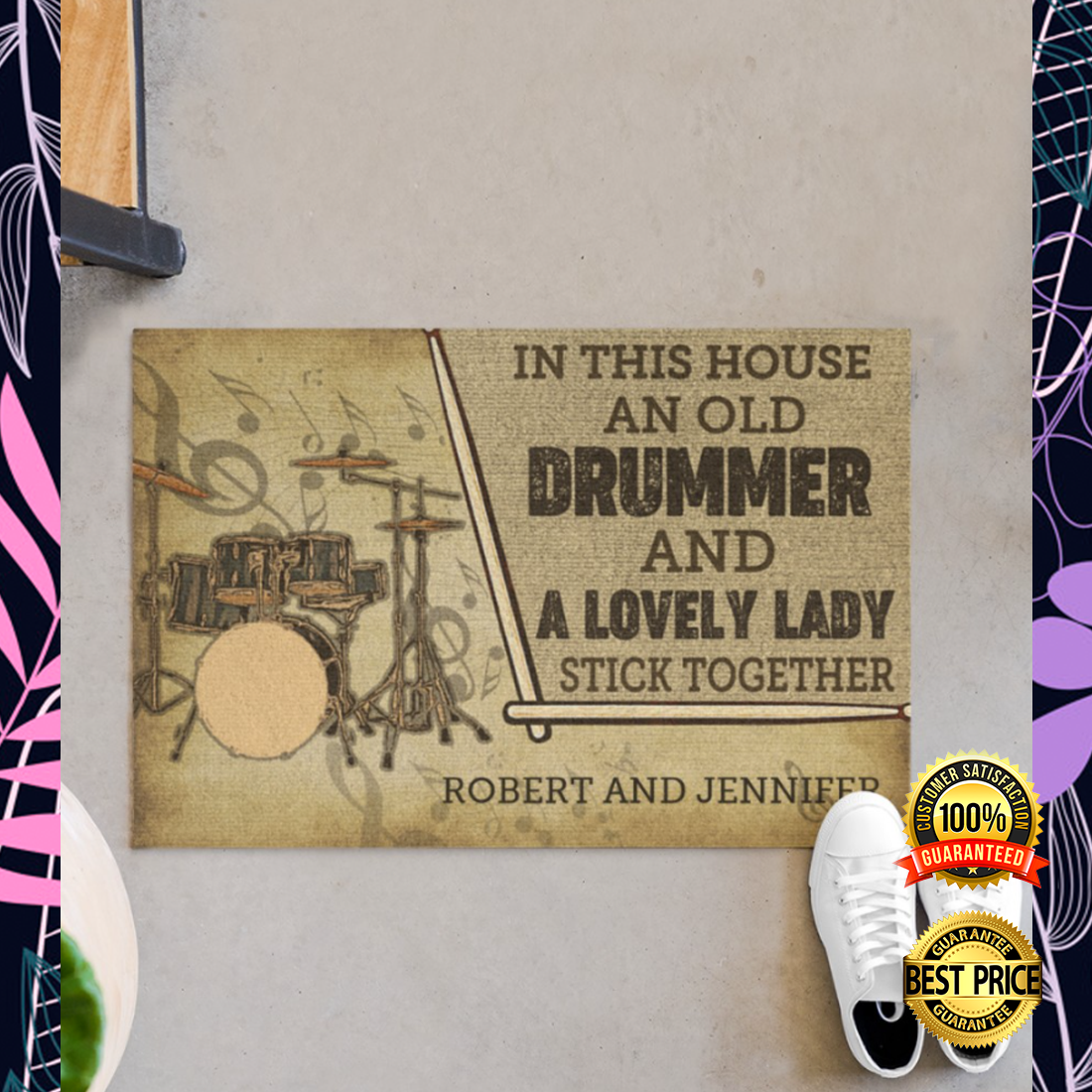 Personalized in this house an old drummer and a lovely lady stick together doormat 5