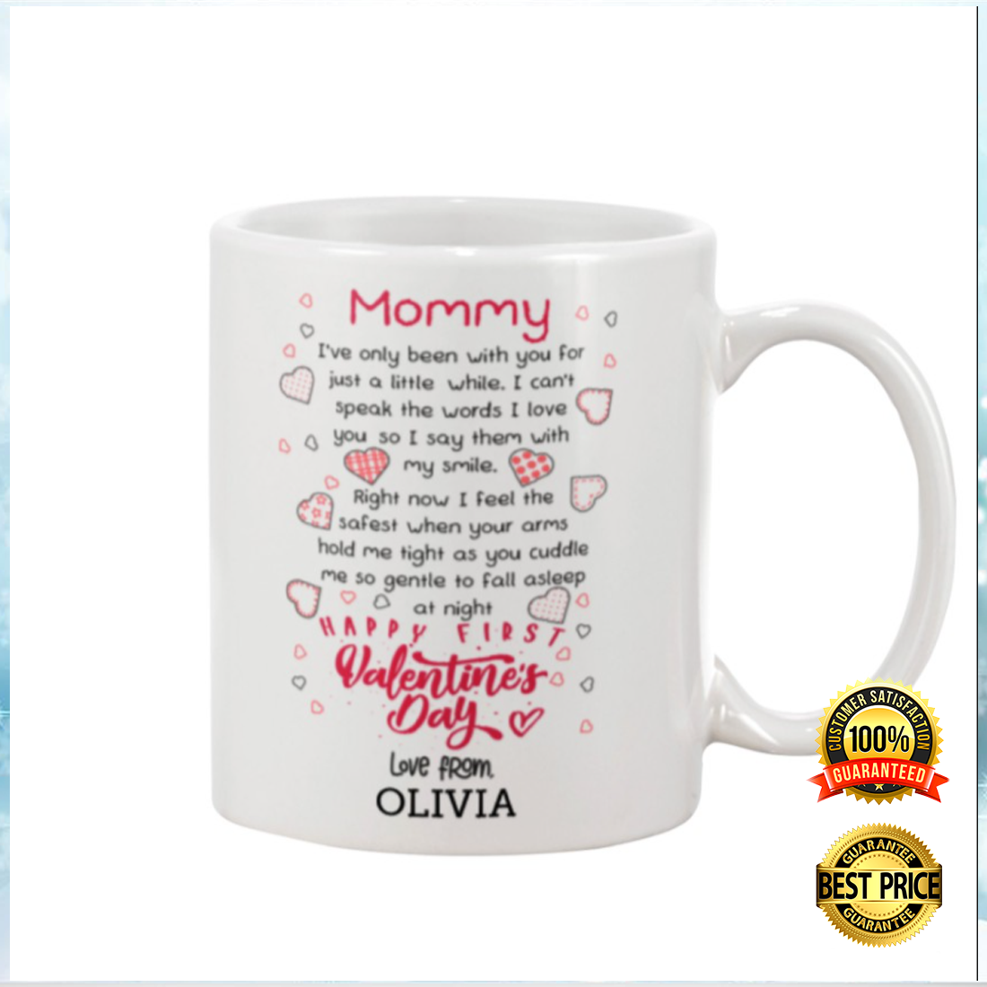 Personalized mommy Happy first valentine's day mug 2