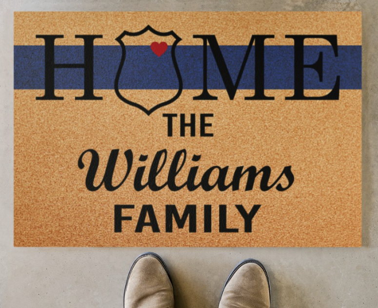 Personalized police home doormat